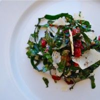 Healthy Kale Salad with Parmesan and Dried Cranberries