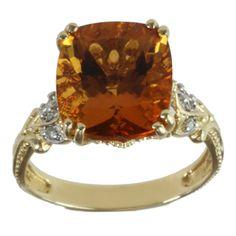 Michael Valitutti 14k Yellow Gold Cushion-cut Citrine and Diamond Ring