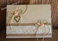 Βιβλίο ευχών γάμου με λινάτσα, δαντέλα, μπρούτζινη καρδιά και βέρες