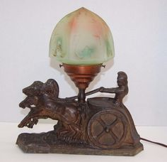 Vintage Lamp Horse Roman Chariot Glass Shade Art Deco
