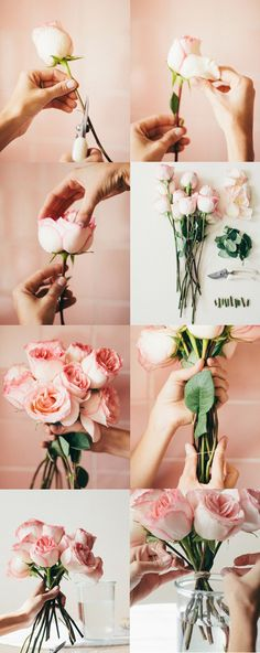 A CUP OF JO: 3 ways to arrange supermarket flowers. // As clear a sign as any that I should pick up a bouquet on the way home. Bunch Of Flowers, Diy Flowers, Fresh Flowers, Beautiful Flowers, Wedding Flowers, Colorful Roses, Table Flowers, Rosen Arrangements, Flower Arrangements Simple