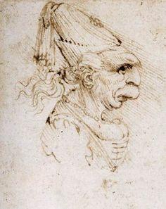 """""""Caricature 2"""", inchiostro di Leonardo Da Vinci (1452-1519, Italy)"""