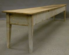 """Long Shaker White-painted Wooden Work Table, with overhanging scrubbed single-board top, deep apron and square tapering legs, 27-3/4"""" H x 142-3/4"""" L. x 23-1/2"""" D."""