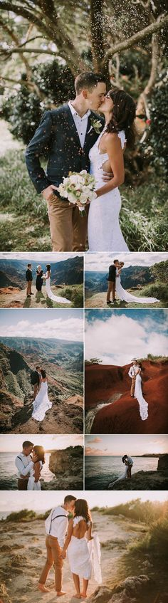This elopement in Waimea canyon has us lusting for a Hawaiian vacation right about now |  photo by Victoria Carlson Photography,