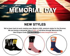 Time to kick off Memorial Day weekend! We have a ton of NEW styles available for sale and want to let you know there is a 30% Sale on all products through Memorial Day!  Use Coupon Code: MEMORIALDAY at www.moxysocks.com  #memorialday #sale #usa #america #trump #starsandstripes #veterans #socks #moxysocks #crewsocks #military #coupon #marketing #powerlift #strong #squat #deadlift #crossfit #spartanrace #molonlabe #comeandtakeit #guns #god #bbq #beer  http://ift.tt/1mmjJbP