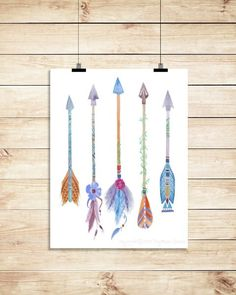 Five Arrows Watercolor Print Feathered Arrows by antiqueink