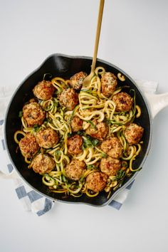 Thai Chicken Meatballs with Zucchini Noodles -- use gluten-free soy sauce