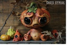 Pumpkin head sculpture by Chris Ryniak, as seen the on The Polymer Arts magazine's blog: www.thepolymerarts.com.