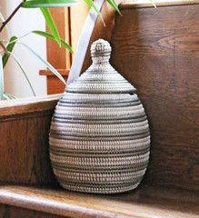 Handwoven African Basket with Lid