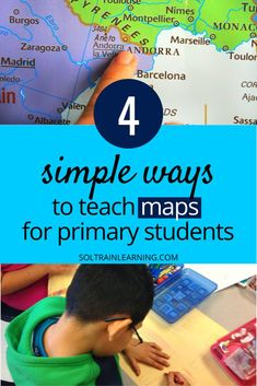 Read about some simple ways to teach about maps to your primary students or younger children. They will create and sing and learn great vocabulary as they read about maps. Parents can use these resources at home for distance learning as well. #maps#socialstudies#distancelearning