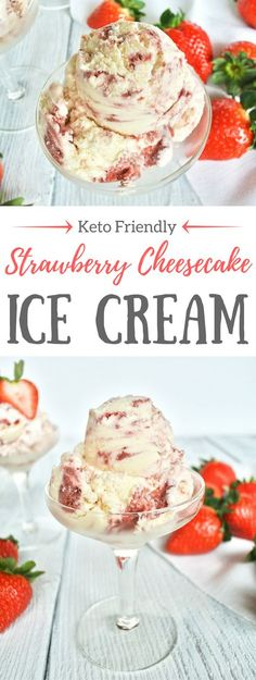 This Strawberry Cheesecake Ice Cream is LCHF, Keto friendly and tastes delicious. It is extra creamy and is made with a real cream and cream cheese base. Then it is swirled with fresh cooked, lightly sweetened organic strawberries. Visit the Butter For All blog to get the easy recipe.