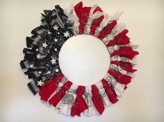 Patriotic American Flag Handkerchief Wreath Tutorial by Swift Shopper
