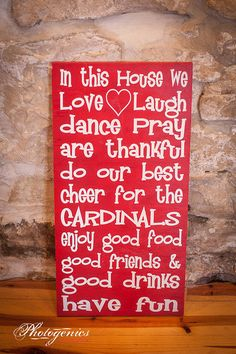 St. Louis Cardinals In This House Rules Love Laugh Dancy Pray Cheer Thankful 12x24 Wood Sign Red White