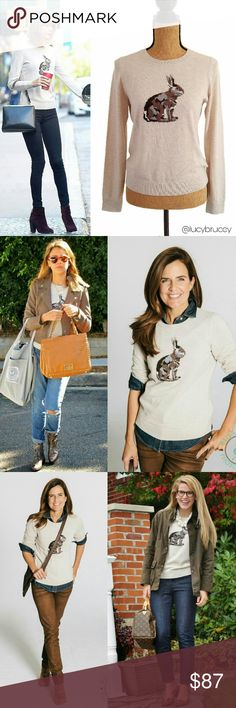 ??Talbots Trendy Rabbit Lambswool Sweater Petite Talbots bunny intarsia sweater is perfectly on-trend this season. A casual must-have that pairs well with jeans or our cord skirt.   Bateau neckline, Long sleeves, Hip length. 70% nylon, 30% lambswool. Dry clean. Sold out in store. Talbots Sweaters Crew & Scoop Necks