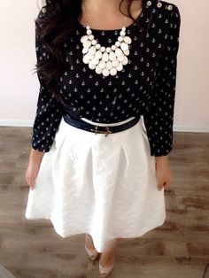 White skirt + anchor top! modest style!