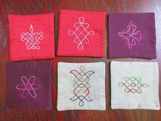 6 Handmade Fabric Coasters Tamil Kolam Auroville of Conscious Living Design