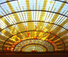 The Art Deco sunburst stained glass window in the Council Chamber of Buffalo City Hall, NY.