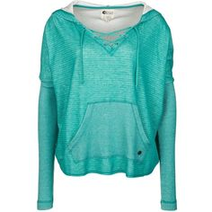 Billabong OVER YOU Sweatshirt ($43) ❤ liked on Polyvore featuring tops, hoodies, sweatshirts, shirts, sweaters, jackets, outerwear, turquoise, hooded sweatshirt and hooded top