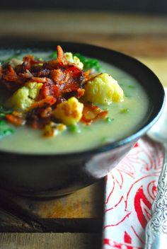 Yum! So good! Paleo version of the Olive Garden's Zuppa Toscana - velvety smooth cauliflower replaces the potatoes and cream.