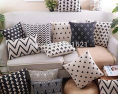 Frete grátis preto bege geométrica além disso cruz ziguezagues chevrons círculos triângulos padrão capa de almofada pillow decor home caso