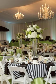 Black & White Wedding Decorations For Tables Yellow - love green and black! White Wedding Decorations, Wedding Centerpieces, Wedding Table, Our Wedding, Black And White Centerpieces, Church Decorations, Centrepieces, Wedding Reception, Destination Wedding