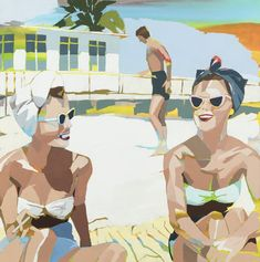 Beach Archive   Signe & Genna Grushovenko   Oil on Linen, Abstract Underpainting, Oil on Masonite Black Molding, Beach Bum, Haha Funny, Abstract Landscape, Surfing, Archive, Artwork, Oil, Anime
