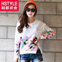 HSTYLE Printed Pattern Zipper Women's Tees 2014 Autumn Brand ...