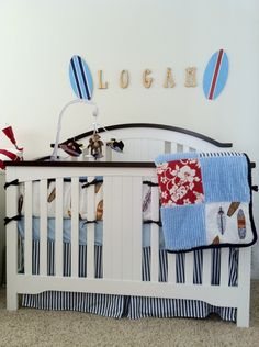 Custom Made crib Bumper and Blanket. Made with baby blue cotton chenille, Red and white Hibiscus and Full Quiver White made in a patchwork style. Surfer Room, Surfer Baby, Baby Boy Rooms, Baby Boy Nurseries, Babies Nursery, Baby Room, Project Nursery, Nursery Ideas, Room Ideas