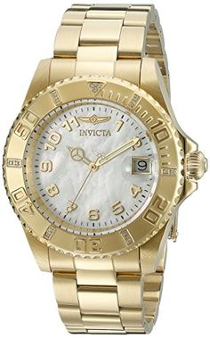 Invicta Womens 21533SYB Pro Diver Analog Display Swiss Quartz GoldPlated Watch ** See this great product.