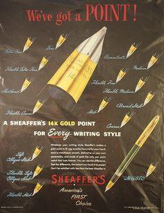Vintage Sheaffer nib chart ad by wellapptdesk, via Flickr