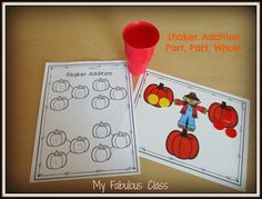 Scarecrow Shaker Addition. Perfect for teaching part part whole in Kindergarten.