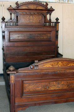 ANTIQUE BED EASTLAKE STYLE WALNUT w/burl inlays 1800's w/VANITY DRESSER SET | eBay
