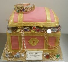 Pink pirate princess treasure chest cake.