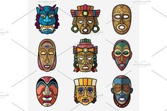 African craft voodoo tribal mask and inca south american culture totem symbols vector set by MicroOne on @creativemarket