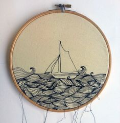 Lost at Sea // Embroidery Hoop