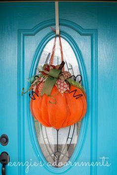 Pumpkin Wreath by kenziesaDOORnments on Etsy