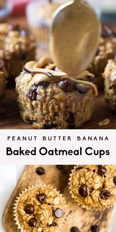 Peanut butter banana baked oatmeal cups packed with protein and naturally sweetened. Easily gluten & dairy free, freezer-friendly and great for kids! Healthy Muffins, Healthy Sweets, Healthy Dessert Recipes, Healthy Baking, Snack Recipes, Oatmeal Recipes, Dinner Recipes, Recipes With Bananas Healthy, Desserts With Bananas