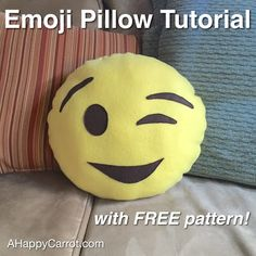 A Happy Carrot: Emoji Pillow Tutorial with FREE pattern: sewing is optional; lots of pics
