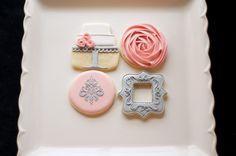 cake cookies, rose cookies, damask cookies, stencil cookies, picture frame cookies, pink & silver cookies, pearl dust, wedding cookies, birthday cookies www.SoonerSugar.com