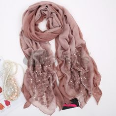 Wool Scarves-Ladies's new long embroidered scarf in autumn and winter