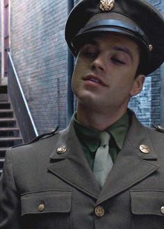 Sebastian Stan, James 'Bucky' Barnes. Oh my freak, he's so beautiful.