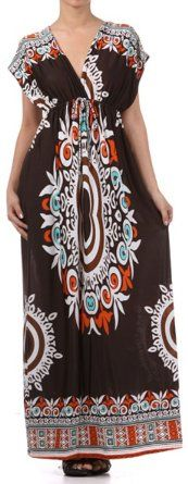 $29.99 FOR HOLLY in Chocolate Amazon.com: FO1188 Ethnic Tribal Print V-Neck Cap Sleeve Empire Waist Long / Maxi Dress - Chocolate: Clothing