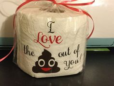 Great valentines gift especially if you want to get your point across on how much you love your special someone! Gag gift, gift for that someone that has everything, funny gift to show your love! I love the poop, crap, shit out of you! This says it better than flowers!!! This is meant as a fun gift to display, but could act as a backup emergency roll as it is a fresh clean roll of toilet paper