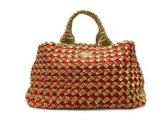 PRADA Auth BN2302 Tote Bag Rafia Crochet Straw Ladies Free Ship Excellent #7955 #PRADA #TotesShoppers