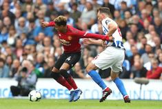 Manchester United's Jesse Lingard and Brighton Hove Albion's Dale Stephens battle for the ball during the Premier League match at the AMEX Stadium. Brighton & Hove Albion, Brighton And Hove, Manchester United Stadium, Jesse Lingard, Premier League Matches, Battle, The Unit, Sports, Hs Sports