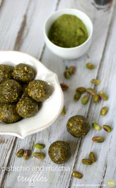 Clean Eating Pistachio and Matcha Truffles...made with clean ingredients and they're raw, vegan, gluten-free, dairy-free, paleo-friendly and contain no refined sugar | The Healthy Family and Home