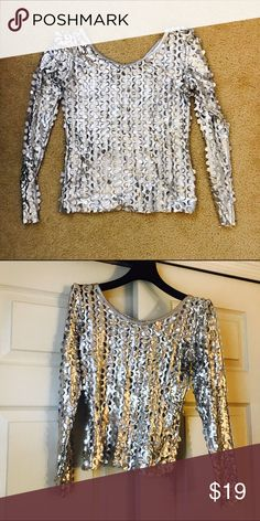 Silver Holey Party Shirt XS No size listed but definitely XS or S stretchy material no tag for material content still very fun!!! Tops
