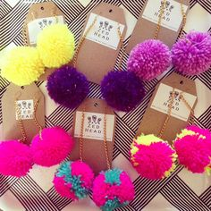 Pom Pom Yarn Colourful Chain Dangle Earrings Jewellery