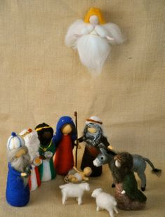Items similar to Christmas Scene Waldorf inspired needle felted dolls: Nativity set pieces).Made to order. on Etsy Christmas Nativity Set, Felt Christmas Ornaments, Christmas Scenes, Christmas Crafts, Christmas Christmas, Needle Felting Tutorials, Felt Fairy, Fairy Dolls, Felt Dolls
