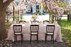 Pink magnolias, mercury glass, custom linens, incredible floral centerpieces and touches of crystals. Art Deco Wedding, Outdoor Furniture Sets, Outdoor Decor, Floral Centerpieces, Outdoor Living, Sweet Home, Things To Come, The Incredibles, Patio